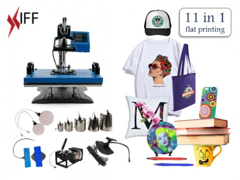 11 in 1 Heat Press Machine Digital Transfer Sublimation T-Shirt Mug Hat Plate Cap