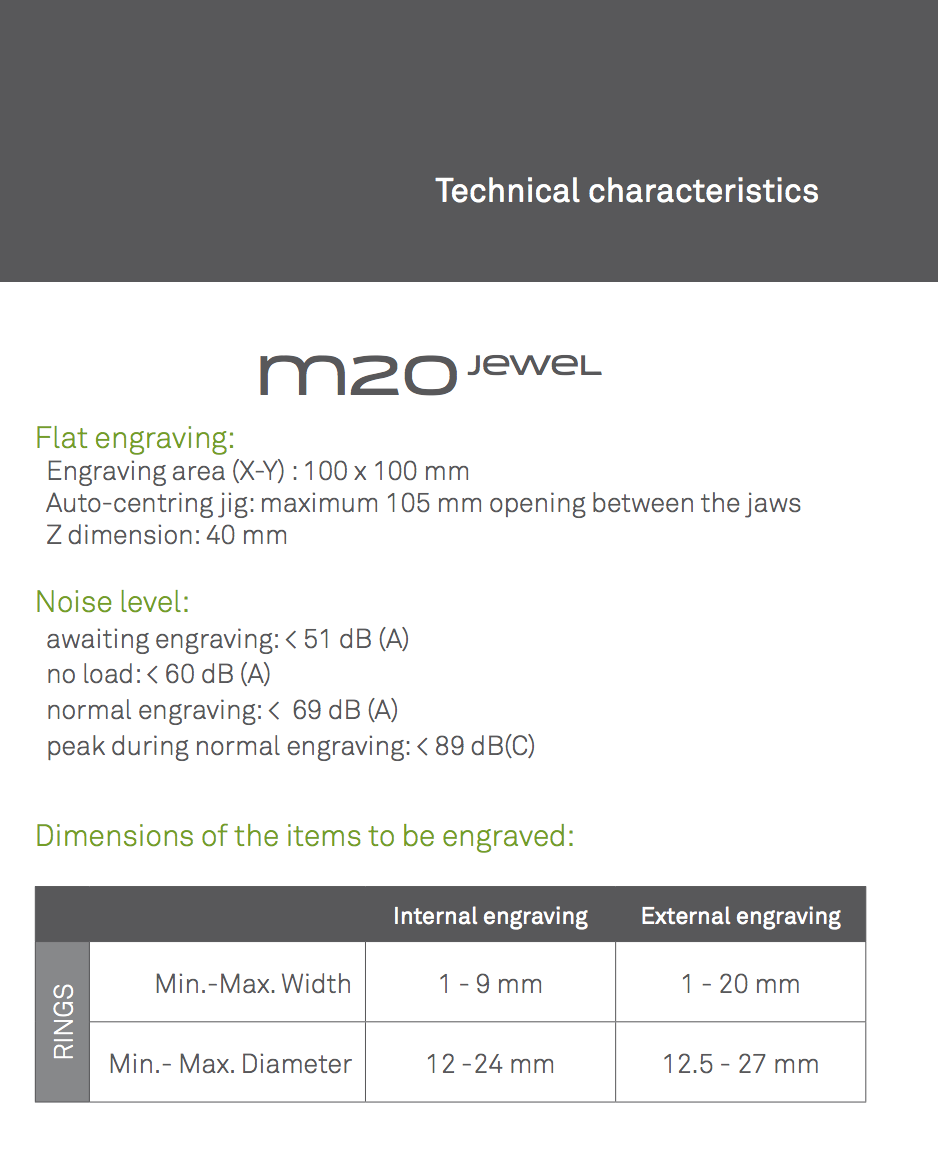 m20 plus gravograph specification